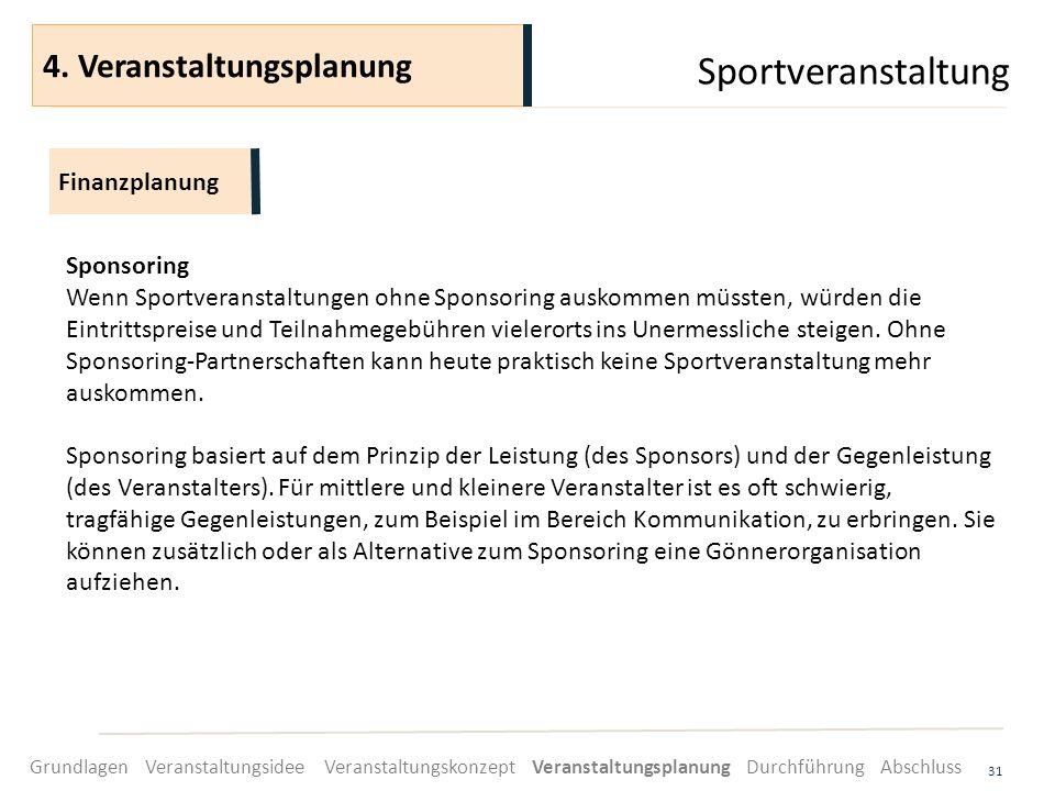 Sportveranstaltung 31 Sponsoring Wenn Sportveranstaltungen ohne Sponsoring auskommen müssten, würden die Eintrittspreise und Teilnahmegebühren vielero