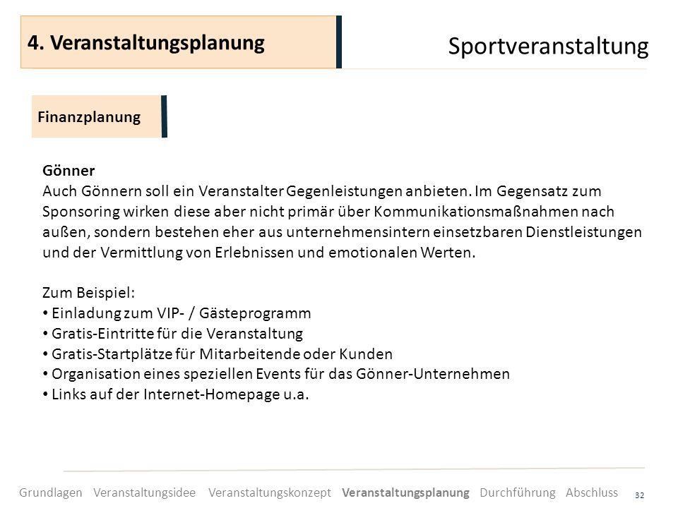 Sportveranstaltung 32 Gönner Auch Gönnern soll ein Veranstalter Gegenleistungen anbieten. Im Gegensatz zum Sponsoring wirken diese aber nicht primär ü