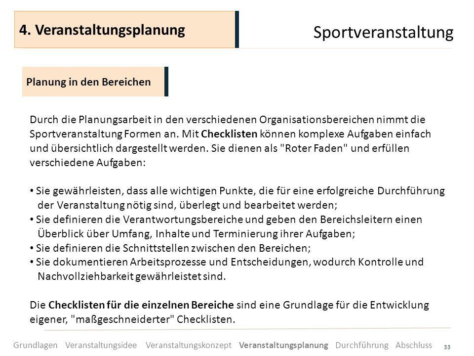 Sportveranstaltung 33 Durch die Planungsarbeit in den verschiedenen Organisationsbereichen nimmt die Sportveranstaltung Formen an. Mit Checklisten kön
