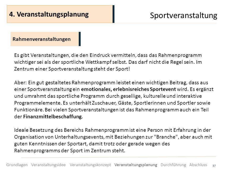 Sportveranstaltung 37 Es gibt Veranstaltungen, die den Eindruck vermitteln, dass das Rahmenprogramm wichtiger sei als der sportliche Wettkampf selbst.
