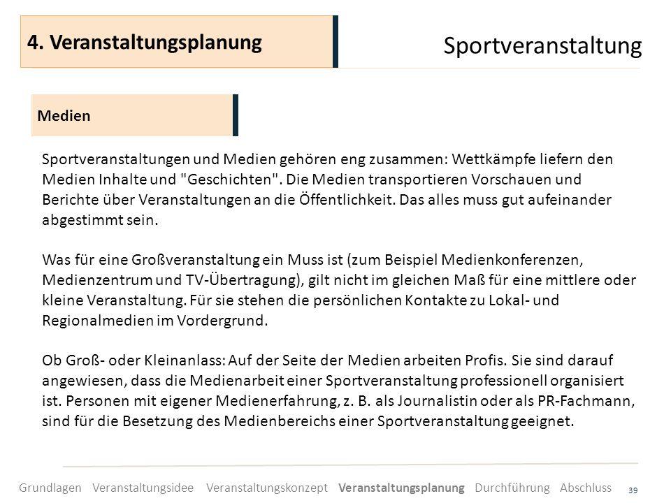 Sportveranstaltung 39 Sportveranstaltungen und Medien gehören eng zusammen: Wettkämpfe liefern den Medien Inhalte und