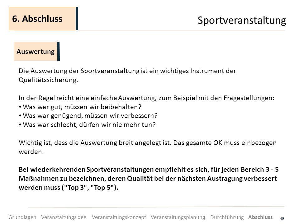 Sportveranstaltung 49 Die Auswertung der Sportveranstaltung ist ein wichtiges Instrument der Qualitätssicherung. In der Regel reicht eine einfache Aus