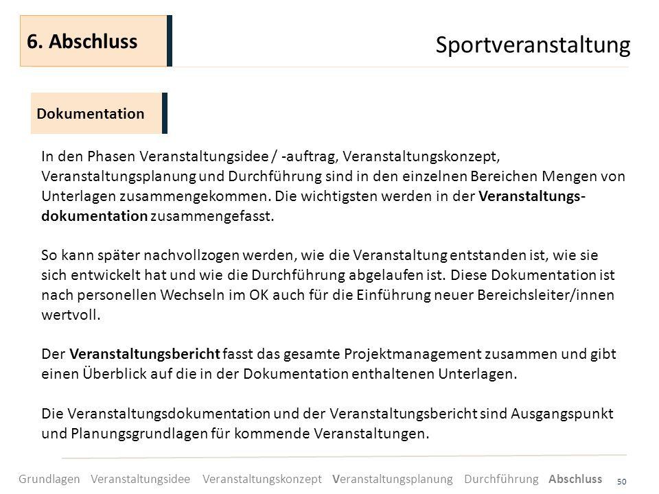 Sportveranstaltung 50 In den Phasen Veranstaltungsidee / -auftrag, Veranstaltungskonzept, Veranstaltungsplanung und Durchführung sind in den einzelnen
