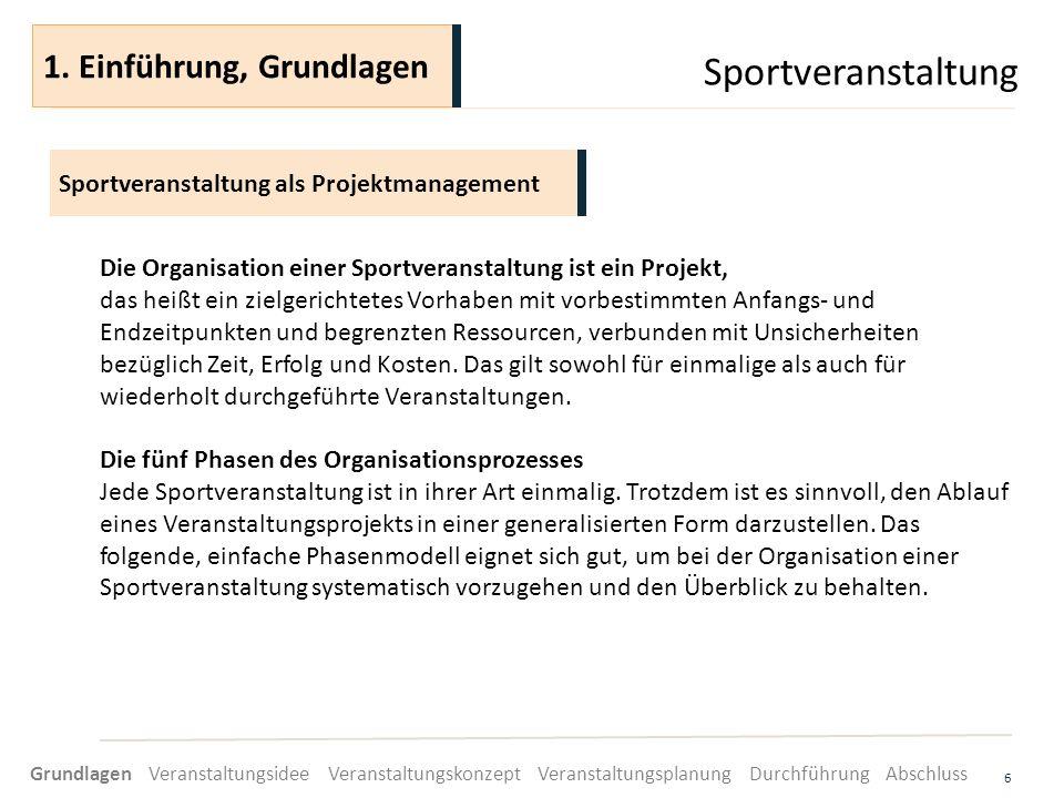 Sportveranstaltung 6 Die Organisation einer Sportveranstaltung ist ein Projekt, das heißt ein zielgerichtetes Vorhaben mit vorbestimmten Anfangs- und
