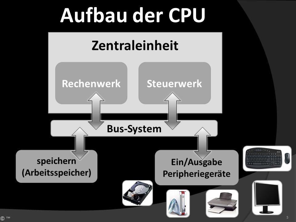 © 5 Zentraleinheit RechenwerkSteuerwerk Bus-System speichern (Arbeitsspeicher) Ein/Ausgabe Peripheriegeräte Aufbau der CPU