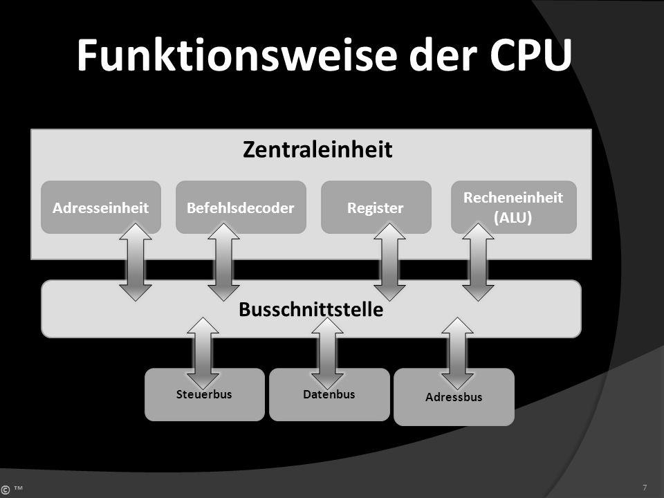 © 7 Zentraleinheit Adresseinheit Busschnittstelle Steuerbus BefehlsdecoderRegister Recheneinheit (ALU) Datenbus Adressbus Funktionsweise der CPU