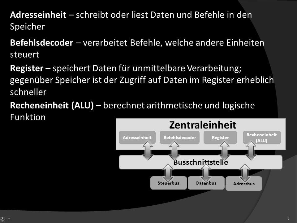 © 8 Zentraleinheit Adresseinheit Busschnittstelle Steuerbus BefehlsdecoderRegister Recheneinheit (ALU) Datenbus Adressbus Adresseinheit – schreibt ode