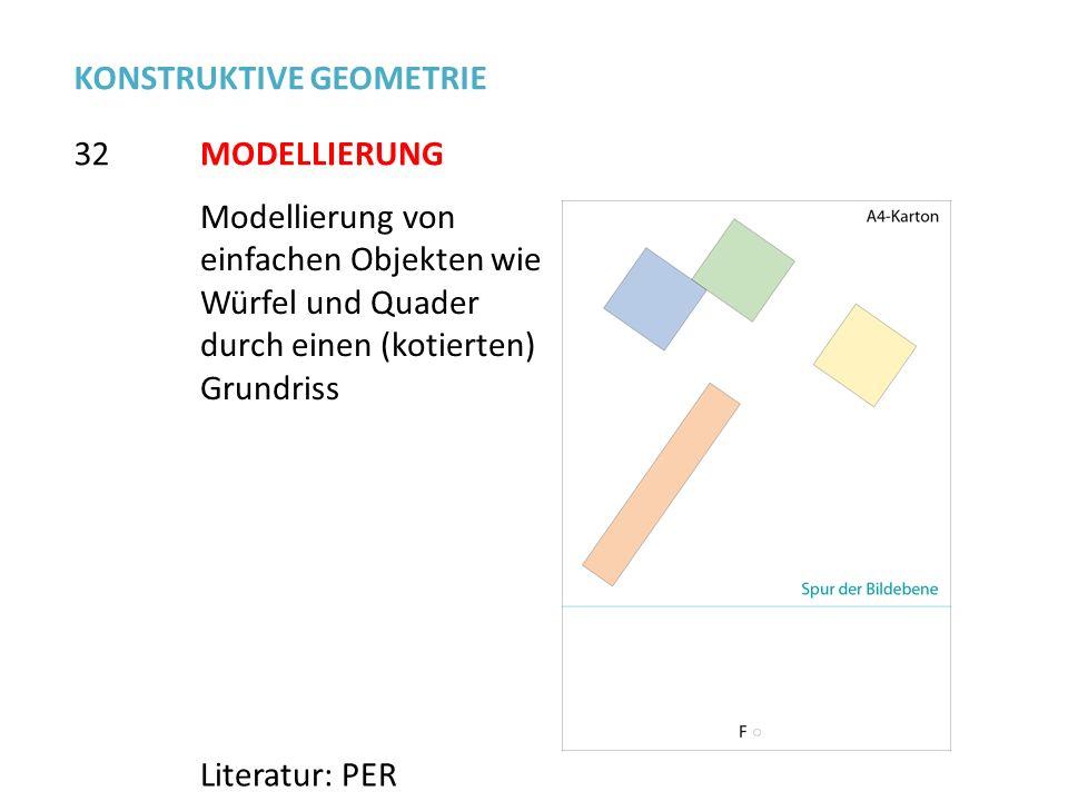 MODELLIERUNG32 Literatur: PER Modellierung von einfachen Objekten wie Würfel und Quader durch einen (kotierten) Grundriss KONSTRUKTIVE GEOMETRIE