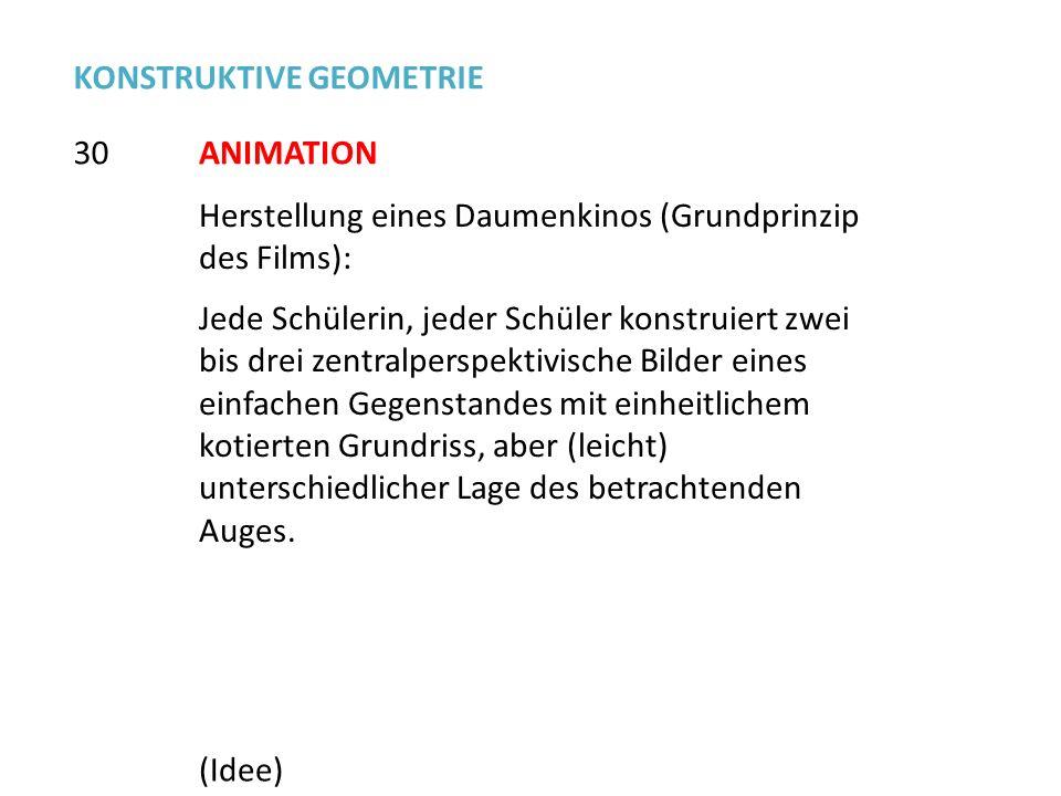 Herstellung eines Daumenkinos (Grundprinzip des Films): Jede Schülerin, jeder Schüler konstruiert zwei bis drei zentralperspektivische Bilder eines ei