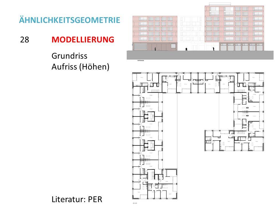 Grundriss Aufriss (Höhen) 28 ÄHNLICHKEITSGEOMETRIE Literatur: PER MODELLIERUNG