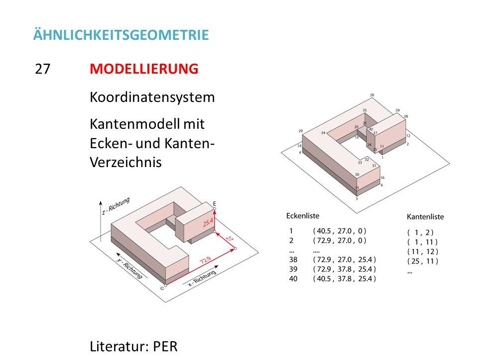 Koordinatensystem Kantenmodell mit Ecken- und Kanten- Verzeichnis 27 ÄHNLICHKEITSGEOMETRIE Literatur: PER MODELLIERUNG