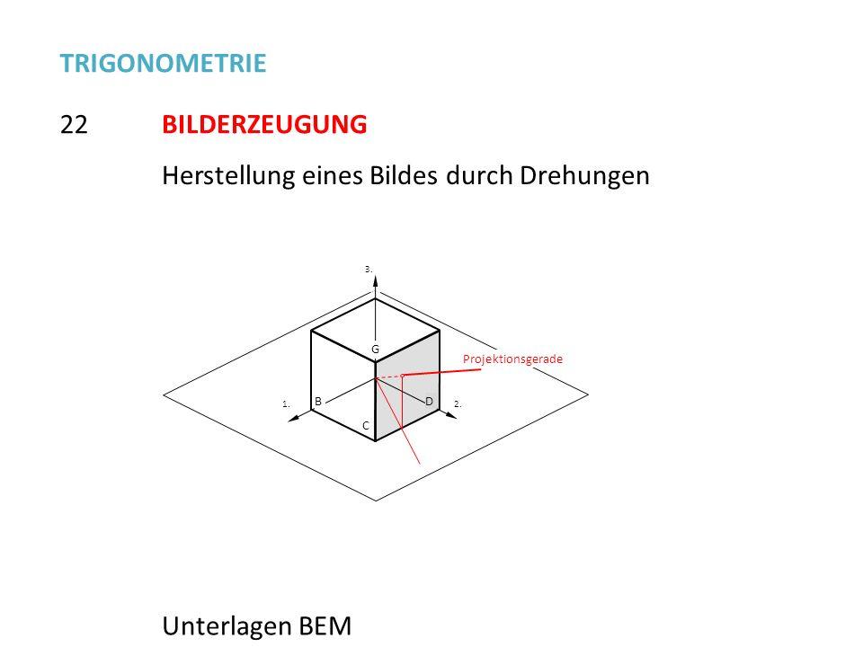 22 TRIGONOMETRIE BILDERZEUGUNG Herstellung eines Bildes durch Drehungen Unterlagen BEM 1. 2.2. 3.3. B G C D Projektionsgerade
