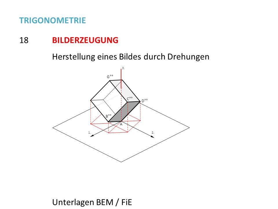 18 TRIGONOMETRIE BILDERZEUGUNG Unterlagen BEM / FiE B°° G°° C°° D°° A 2. 1. 3.3. Herstellung eines Bildes durch Drehungen