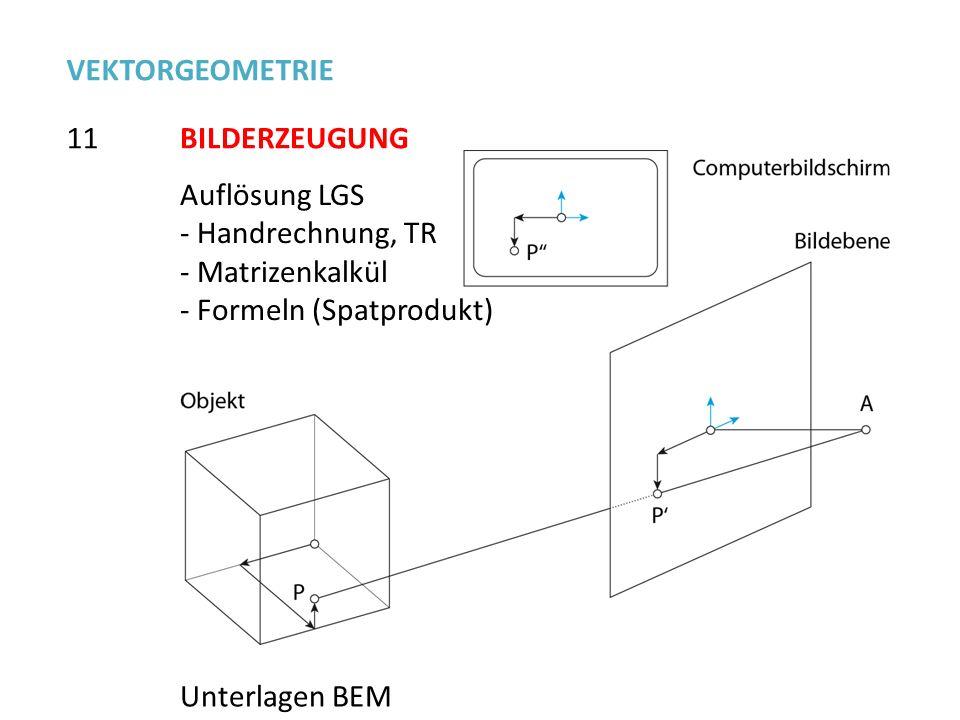 Auflösung LGS - Handrechnung, TR - Matrizenkalkül - Formeln (Spatprodukt) 11 VEKTORGEOMETRIE BILDERZEUGUNG Unterlagen BEM