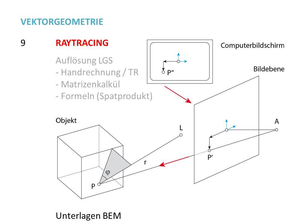 9 VEKTORGEOMETRIE RAYTRACING Auflösung LGS - Handrechnung / TR - Matrizenkalkül - Formeln (Spatprodukt) Unterlagen BEM