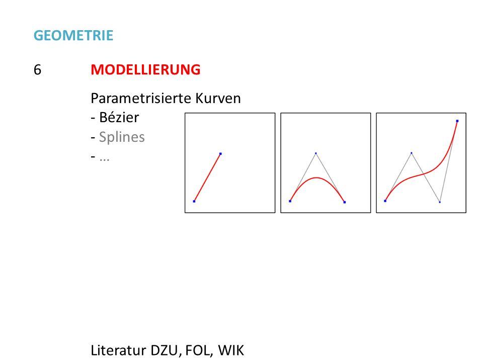 6 GEOMETRIE MODELLIERUNG Parametrisierte Kurven - Bézier - Splines - … Literatur DZU, FOL, WIK