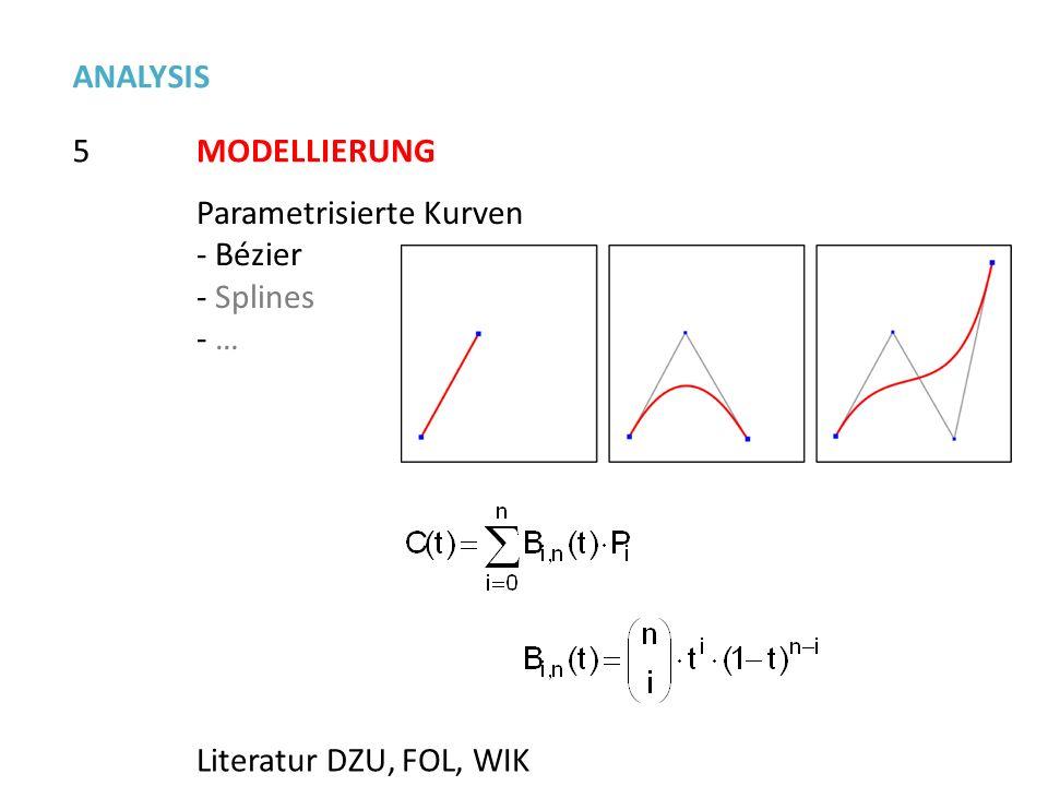 5 ANALYSIS MODELLIERUNG Parametrisierte Kurven - Bézier - Splines - … Literatur DZU, FOL, WIK