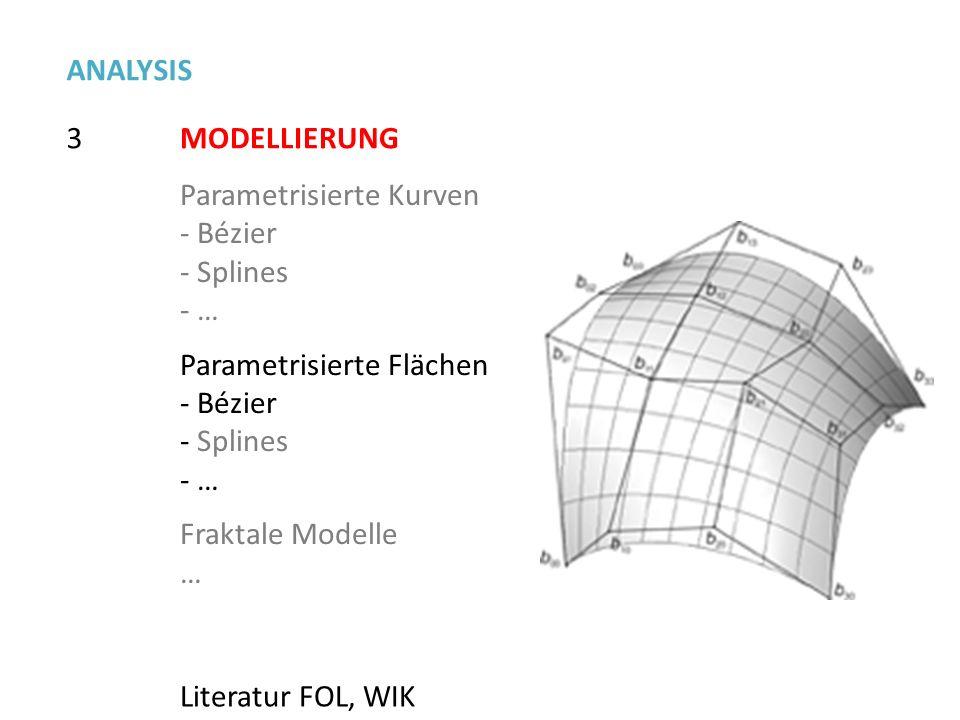 3 ANALYSIS MODELLIERUNG Parametrisierte Kurven - Bézier - Splines - … Parametrisierte Flächen - Bézier - Splines - … Fraktale Modelle … Literatur FOL,