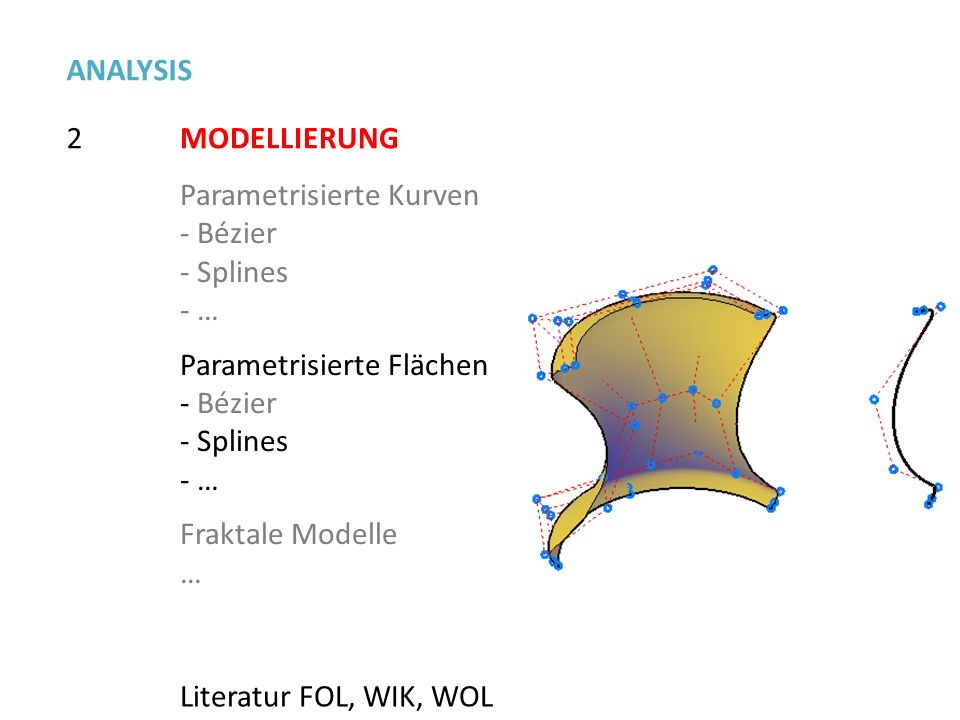 2 ANALYSIS MODELLIERUNG Parametrisierte Kurven - Bézier - Splines - … Parametrisierte Flächen - Bézier - Splines - … Fraktale Modelle … Literatur FOL,