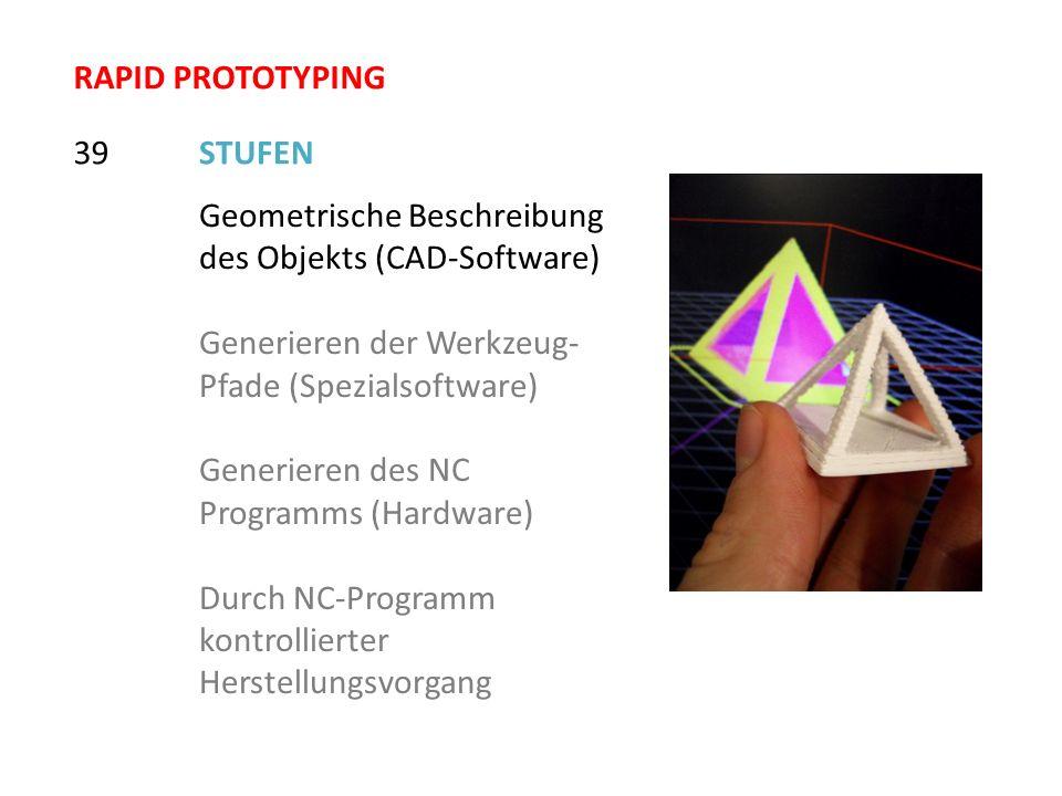 STUFEN39 Geometrische Beschreibung des Objekts (CAD-Software) Generieren der Werkzeug- Pfade (Spezialsoftware) Generieren des NC Programms (Hardware)