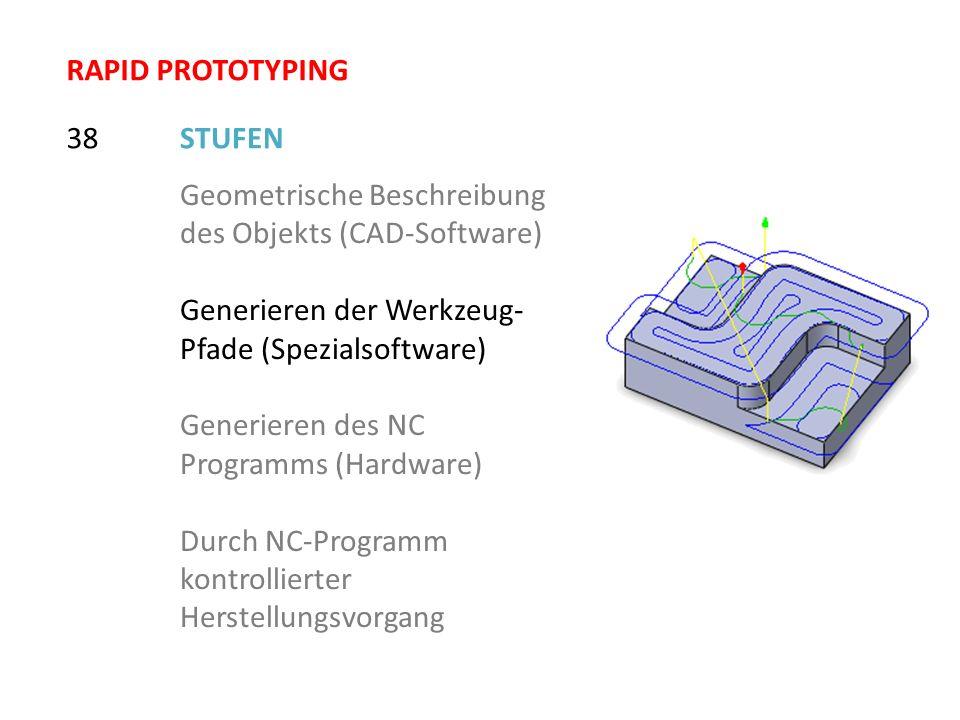 STUFEN38 Geometrische Beschreibung des Objekts (CAD-Software) Generieren der Werkzeug- Pfade (Spezialsoftware) Generieren des NC Programms (Hardware)