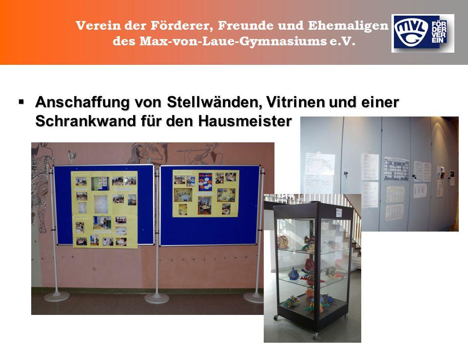 Verein der Förderer, Freunde und Ehemaligen des Max-von-Laue-Gymnasiums e.V. Unterstützung bei der Ausstattung der Schulbibliothek Unterstützung bei d