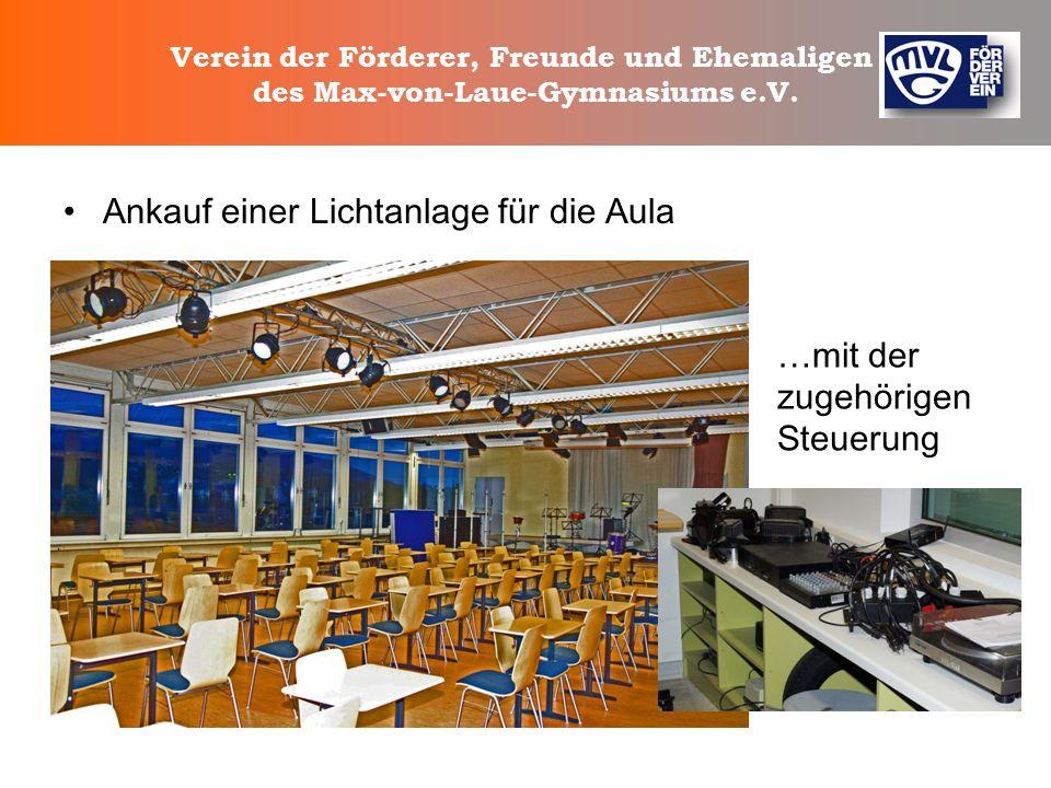 Verein der Förderer, Freunde und Ehemaligen des Max-von-Laue-Gymnasiums e.V. Anschaffung von Stellwänden, Vitrinen und einer Schrankwand für den Hausm