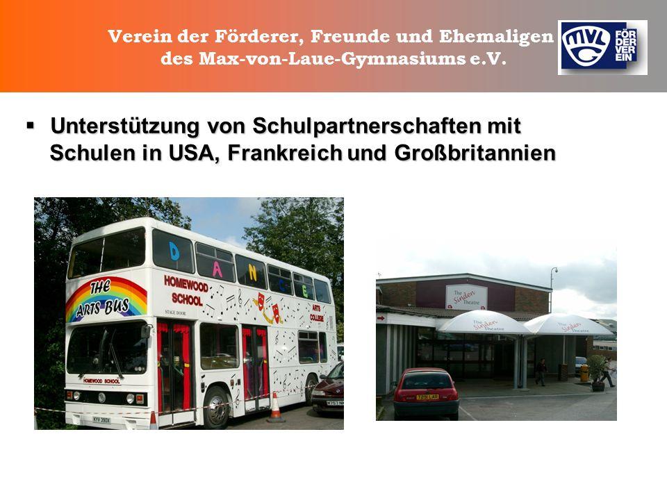 Verein der Förderer, Freunde und Ehemaligen des Max-von-Laue-Gymnasiums e.V. Unterstützung der künstlerischen Gestaltung der Flure Unterstützung der k
