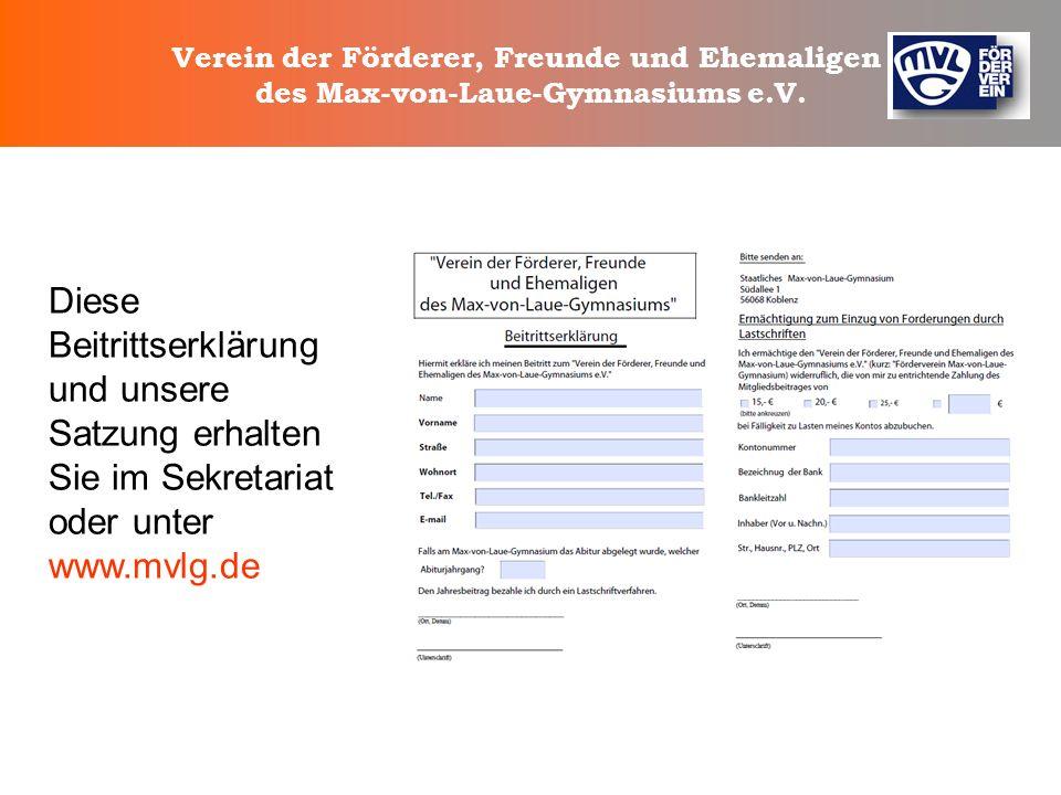 Verein der Förderer, Freunde und Ehemaligen des Max-von-Laue-Gymnasiums e.V. Unterstützung von Schulpartnerschaften mit Unterstützung von Schulpartner