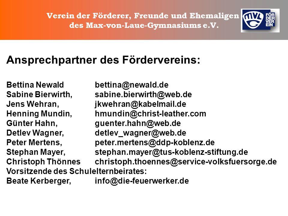Verein der Förderer, Freunde und Ehemaligen des Max-von-Laue-Gymnasiums e.V. Das alles erledigt sich nicht von alleine !! Wir brauchen Ihre Mithilfe !