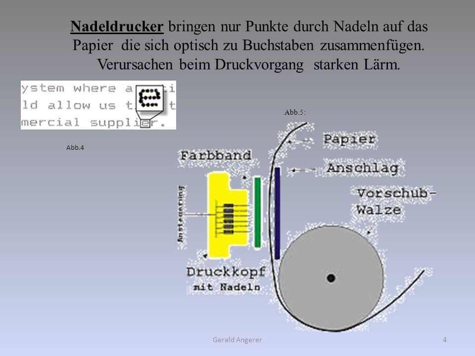 Nadeldrucker bringen nur Punkte durch Nadeln auf das Papier die sich optisch zu Buchstaben zusammenfügen. Verursachen beim Druckvorgang starken Lärm.