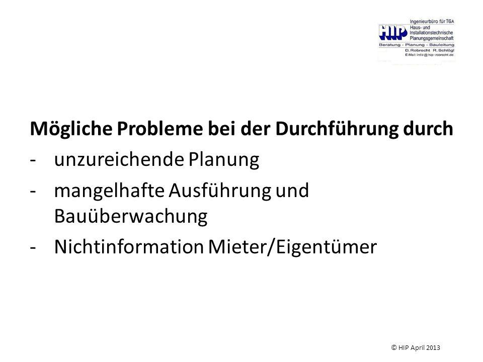Mögliche Probleme bei der Durchführung durch -unzureichende Planung -mangelhafte Ausführung und Bauüberwachung -Nichtinformation Mieter/Eigentümer © HIP April 2013