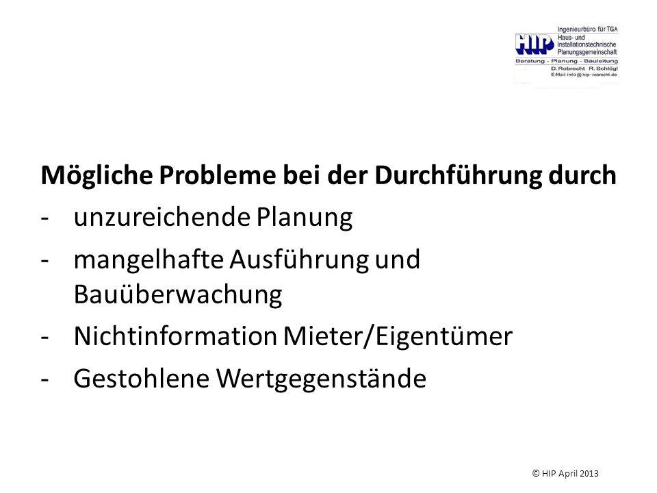 Mögliche Probleme bei der Durchführung durch -unzureichende Planung -mangelhafte Ausführung und Bauüberwachung -Nichtinformation Mieter/Eigentümer -Gestohlene Wertgegenstände © HIP April 2013