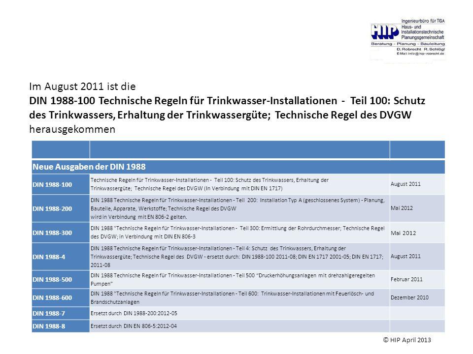 Neue Ausgaben der DIN 1988 DIN 1988-100 Technische Regeln für Trinkwasser-Installationen - Teil 100: Schutz des Trinkwassers, Erhaltung der Trinkwasse