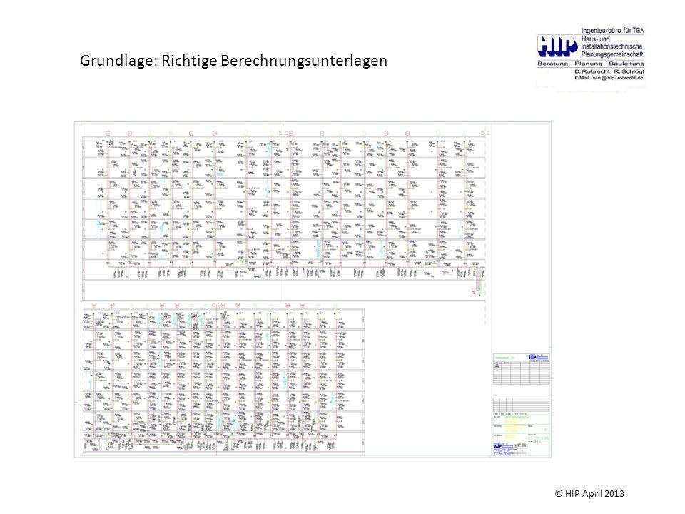 Grundlage: Richtige Berechnungsunterlagen © HIP April 2013