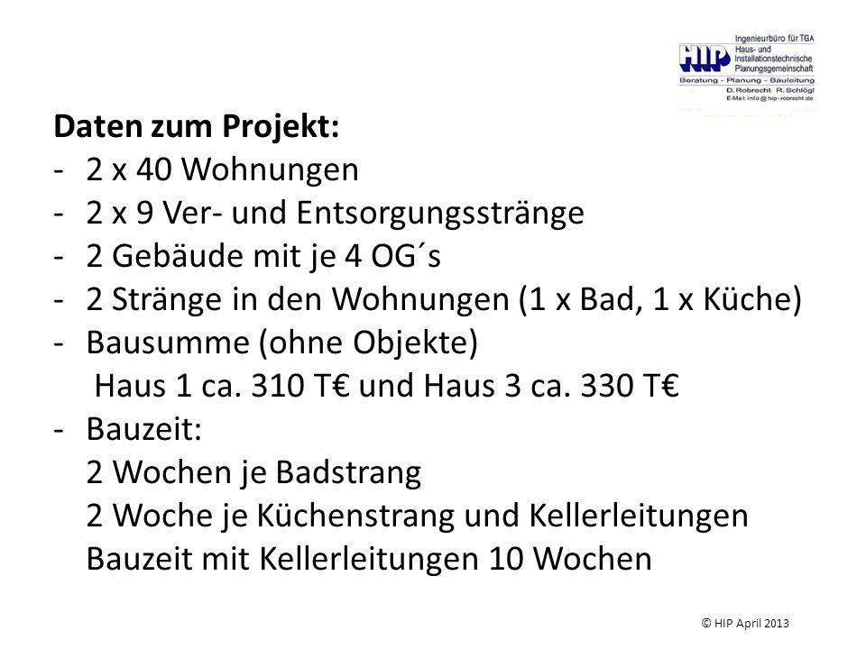 Daten zum Projekt: -2 x 40 Wohnungen -2 x 9 Ver- und Entsorgungsstränge -2 Gebäude mit je 4 OG´s -2 Stränge in den Wohnungen (1 x Bad, 1 x Küche) -Bausumme (ohne Objekte) Haus 1 ca.