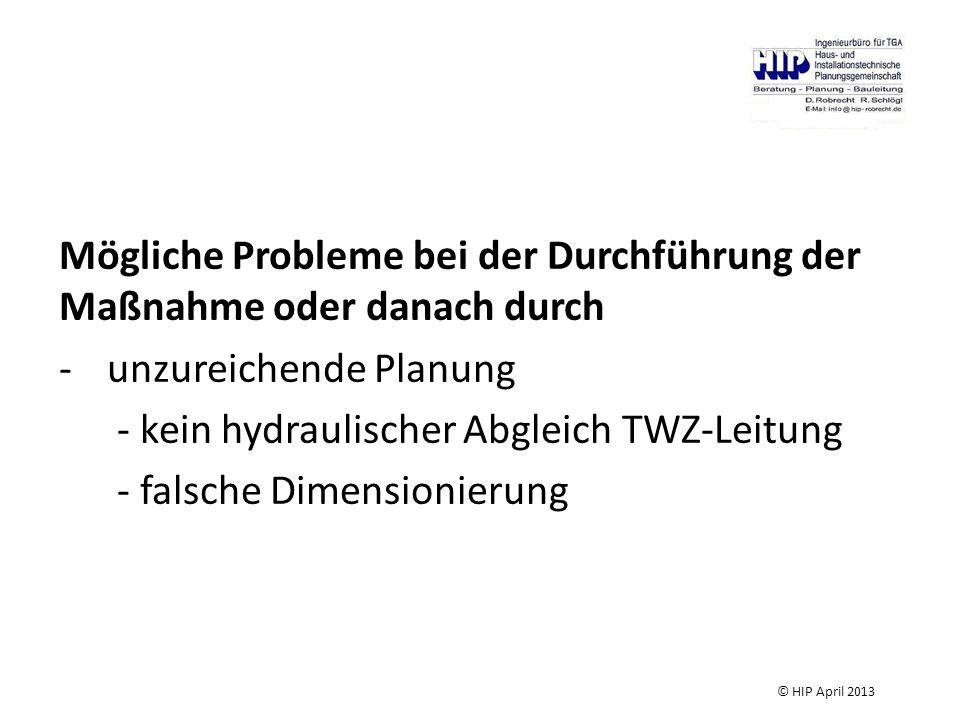 Mögliche Probleme bei der Durchführung der Maßnahme oder danach durch -unzureichende Planung - kein hydraulischer Abgleich TWZ-Leitung - falsche Dimensionierung © HIP April 2013