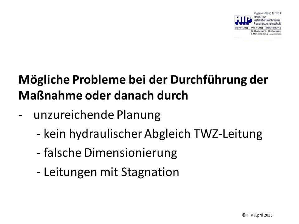 Mögliche Probleme bei der Durchführung der Maßnahme oder danach durch -unzureichende Planung - kein hydraulischer Abgleich TWZ-Leitung - falsche Dimensionierung - Leitungen mit Stagnation © HIP April 2013