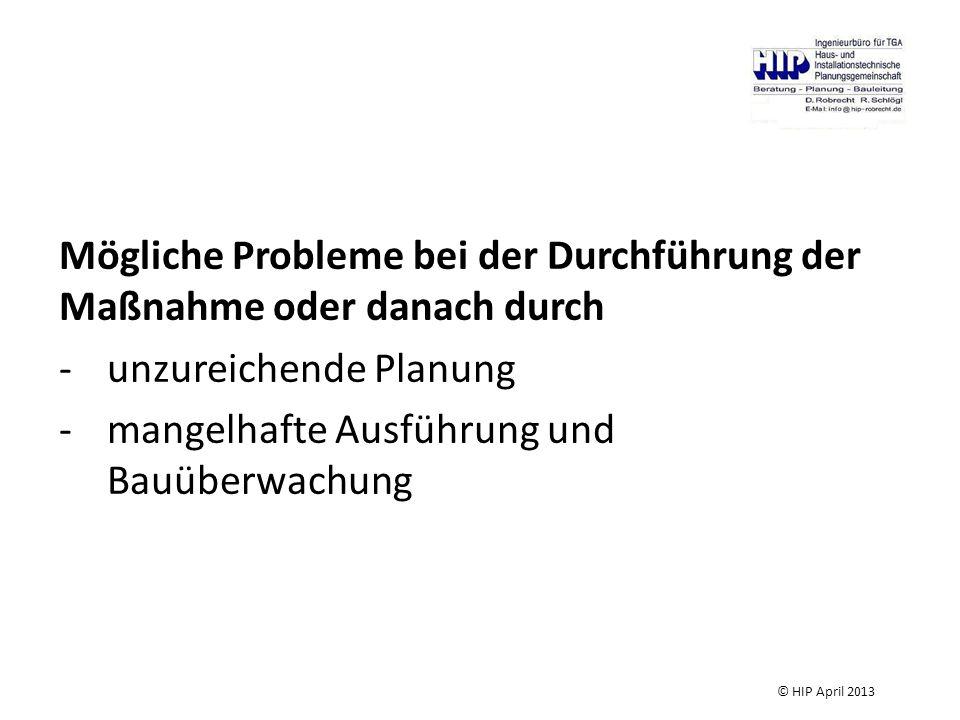 Mögliche Probleme bei der Durchführung der Maßnahme oder danach durch -unzureichende Planung -mangelhafte Ausführung und Bauüberwachung © HIP April 20