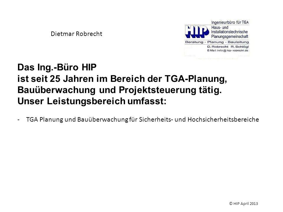 Beachtung bei der Planung Trinkwasserverordnung DIN EN 1717 DIN 1988 EN 806 Technische Regel des DVGW Technische Regeln für Trinkwasser – Installation (TRWI) TWIN - Informationen des DVGW zur Trinkwasser- Installation © HIP April 2013