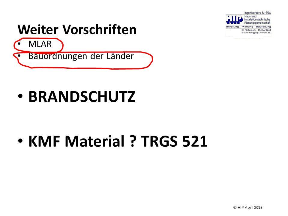 Weiter Vorschriften MLAR Bauordnungen der Länder BRANDSCHUTZ KMF Material ? TRGS 521 © HIP April 2013