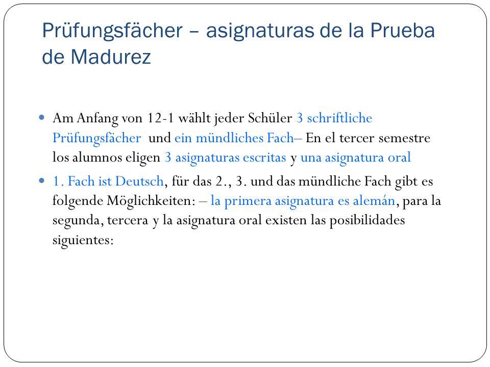 Prüfungsfächer – asignaturas de la Prueba de Madurez Am Anfang von 12-1 wählt jeder Schüler 3 schriftliche Prüfungsfächer und ein mündliches Fach– En