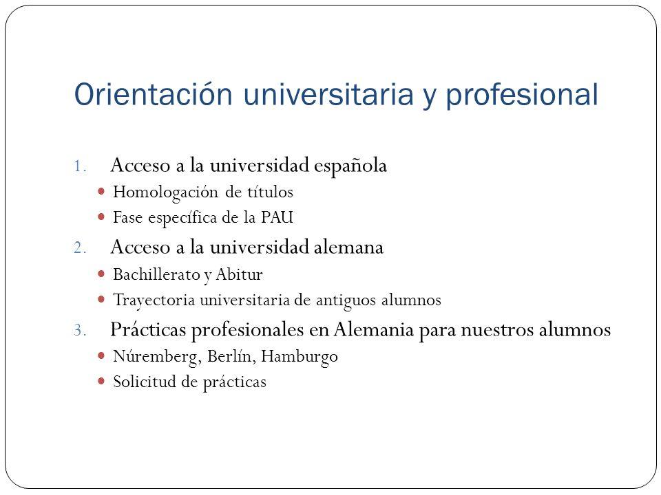 Orientación universitaria y profesional 1. Acceso a la universidad española Homologación de títulos Fase específica de la PAU 2. Acceso a la universid