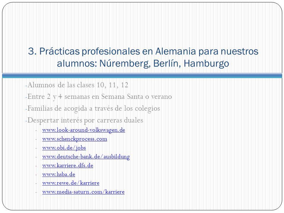 3. Prácticas profesionales en Alemania para nuestros alumnos: Núremberg, Berlín, Hamburgo - Alumnos de las clases 10, 11, 12 - Entre 2 y 4 semanas en