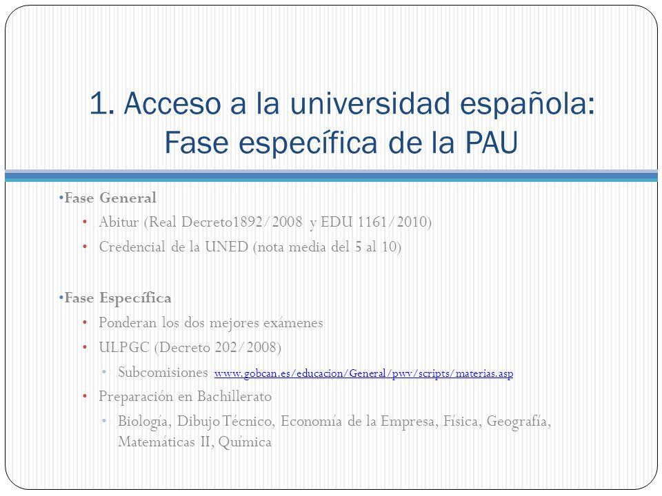 1. Acceso a la universidad española: Fase específica de la PAU Fase General Abitur (Real Decreto1892/2008 y EDU 1161/2010) Credencial de la UNED (nota