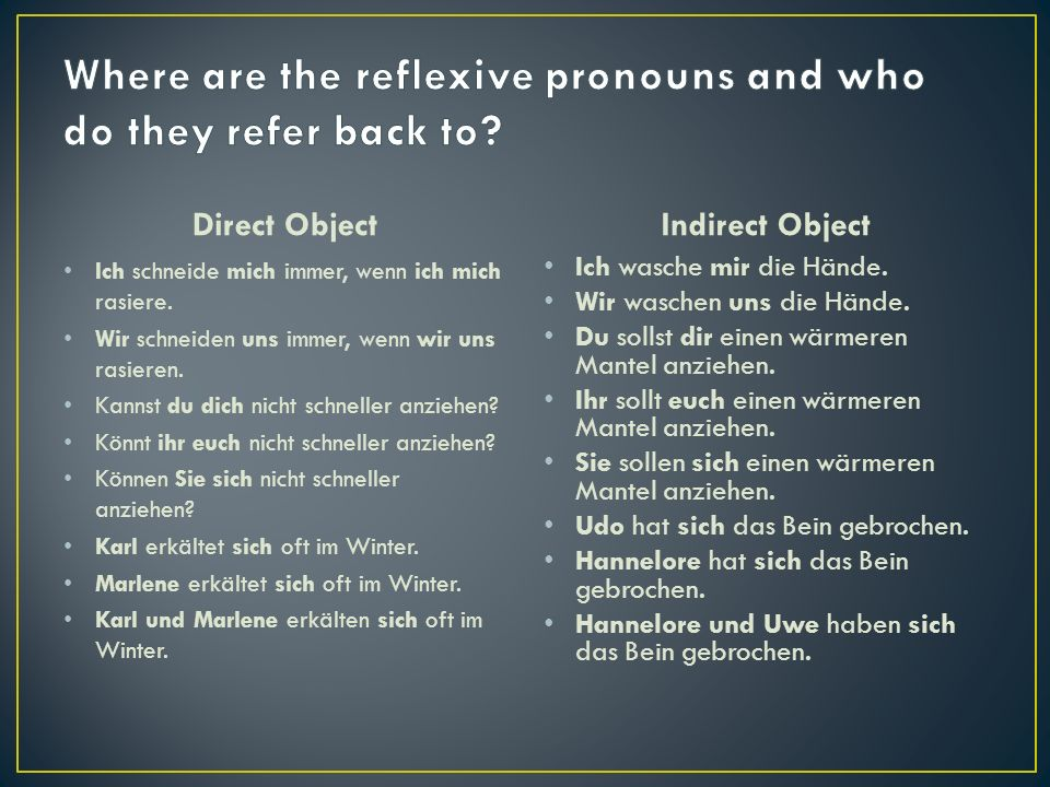 There are a number of verbs that may be used with noun or personal pronoun objects or reflexive pronoun objects: anziehen (to dress) Der Vater zeiht seinen kleinen Sohn an.