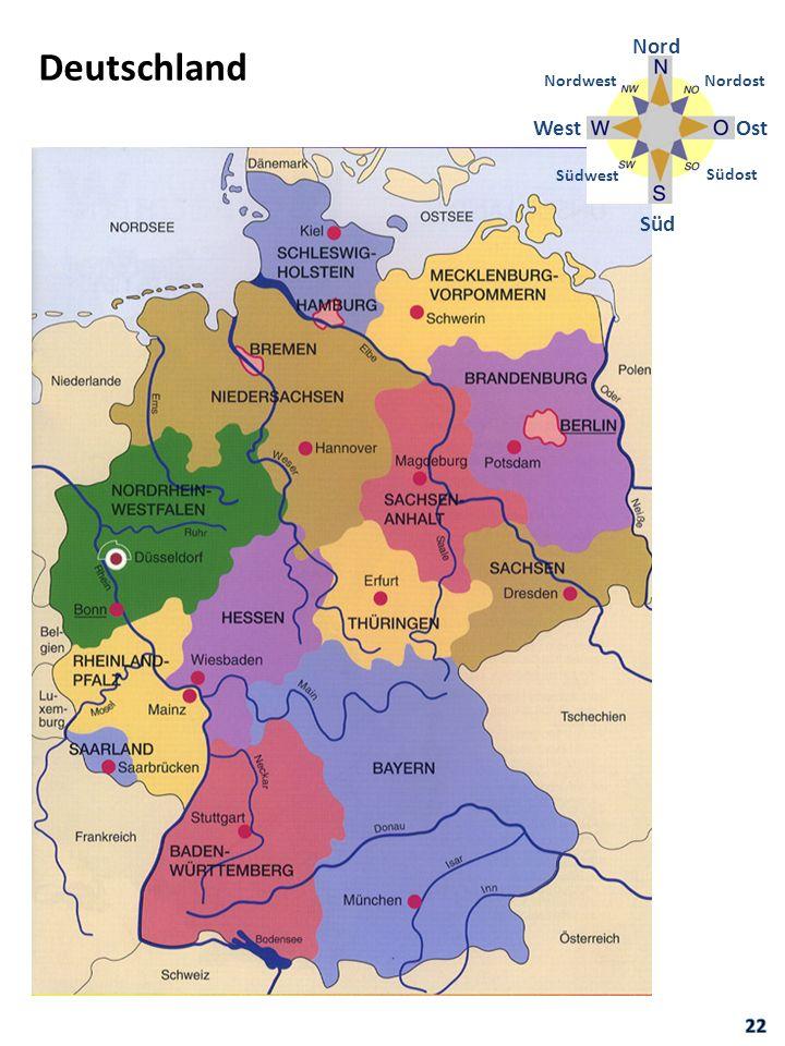 Deutschland Nord Süd OstWest Nordost Südost Südwest Nordwest