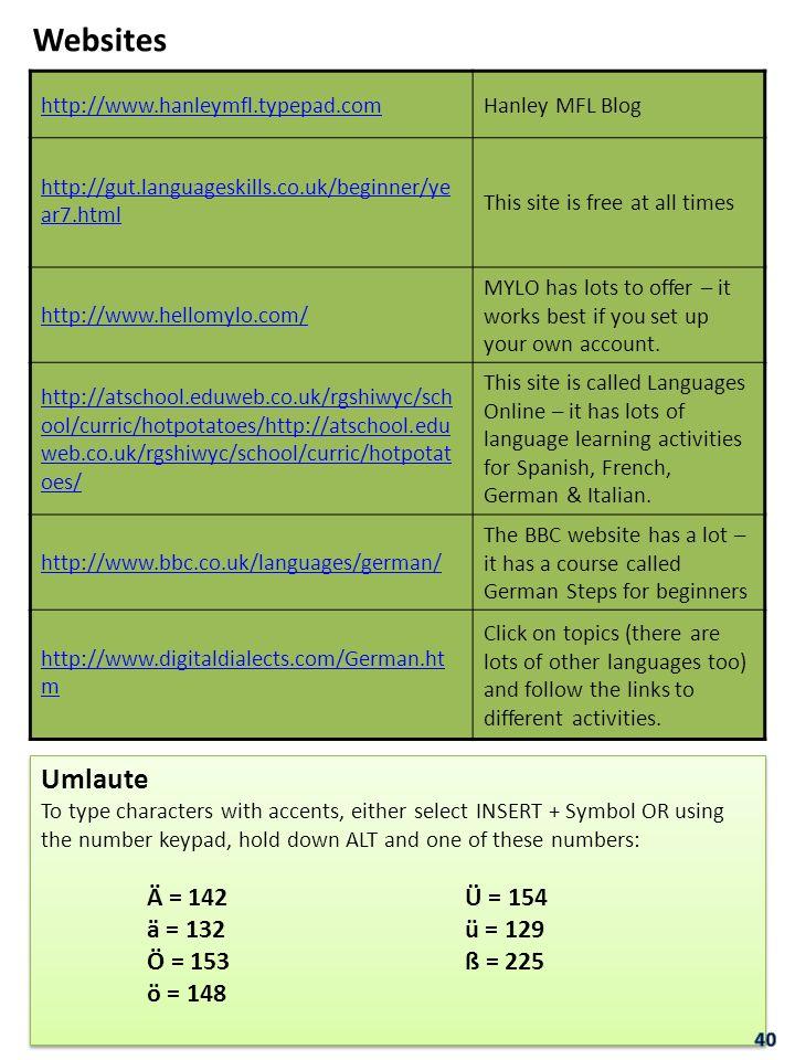 Websites http://www.hanleymfl.typepad.comHanley MFL Blog http://gut.languageskills.co.uk/beginner/ye ar7.html This site is free at all times http://ww