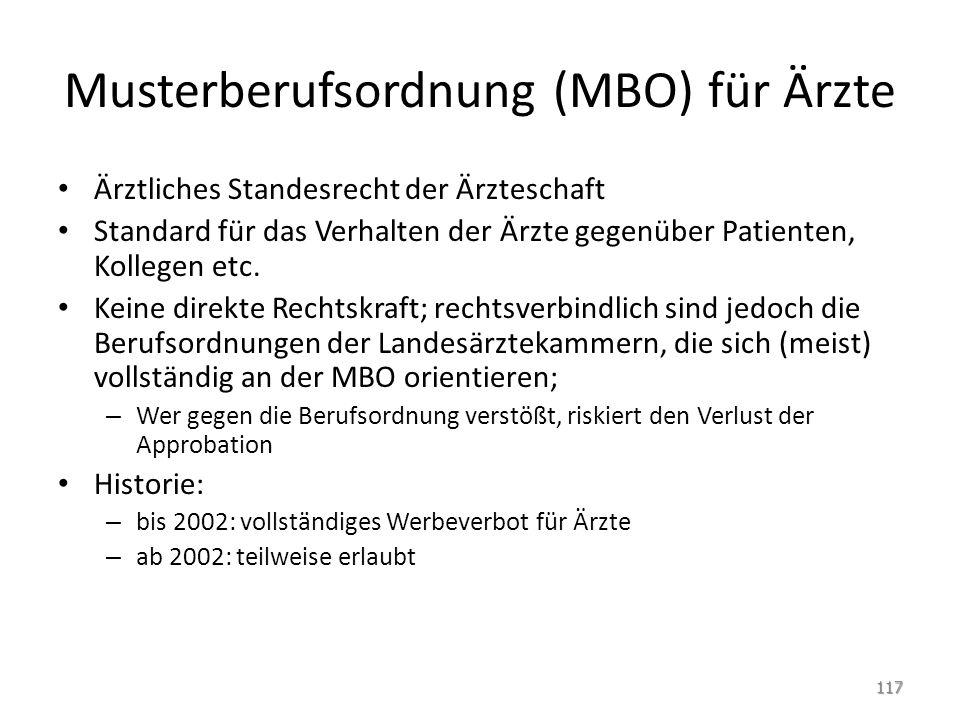 Musterberufsordnung (MBO) für Ärzte Ärztliches Standesrecht der Ärzteschaft Standard für das Verhalten der Ärzte gegenüber Patienten, Kollegen etc. Ke