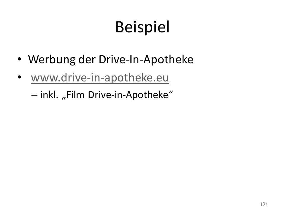 Beispiel Werbung der Drive-In-Apotheke www.drive-in-apotheke.eu – inkl. Film Drive-in-Apotheke 121